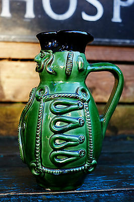 Unusual Old Pottery Jug - Green Glaze