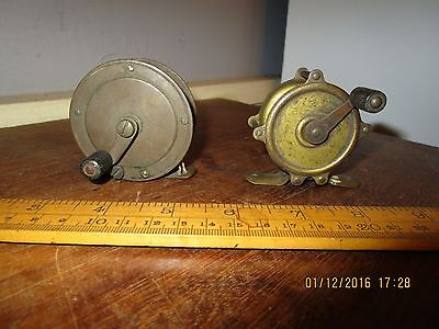 Pair of Antique Brass Fishing Reels . Small Brass Fishing reels