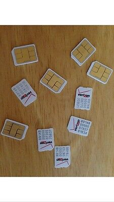 1 USED Verizon NANO SIM CARD-iPhone 5 5S 5C-No Service-Activation Screen Bypass