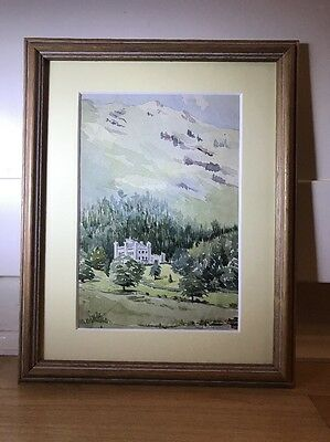 Charming Antique 1894 Watercolour Painting Of Landscape in wood frame