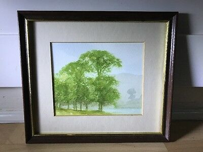 Lovely Vintage Watercolour Painting Of Landscape In Wood Frame