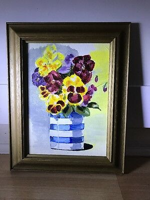 Lovely Vintage Oil Painting On Board Of Pansy Flowers In Gold Frame