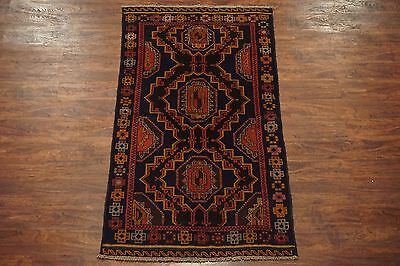 3X6 Afghan Tribal Area Rug Hand-Knotted Wool Oriental Carpet (3.5 x 6.3)