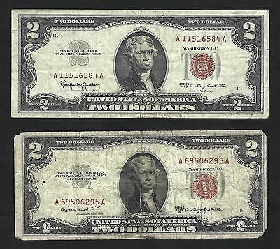1953B and 1963 red seal $2 United States Notes ... YOU GET BOTH AS SHOWN