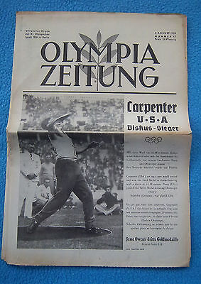 Orig.PRG / Newsletter  Olympic Games BERLIN 1936 - 06.08. all Day Event`s ! RARE