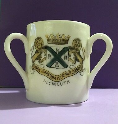 Gemma Crested China Tyg or Tig Mug Cup With Plymouth Crest