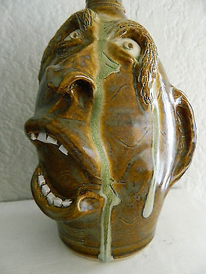 RARE Terry King FACE JUG 'Marvin' Seagrove NC Ugly jug GOOD COLORS! Signed 2009