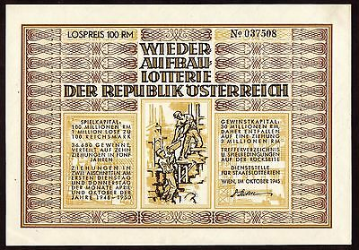 1945 Austria Post WWII 100 Reichsmark Lottery for reconstruction very rare note