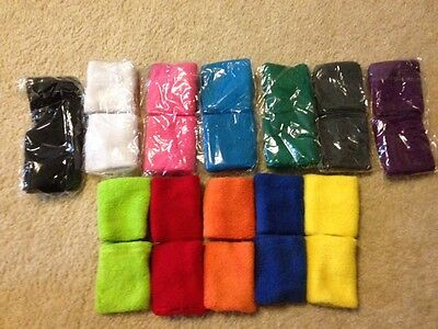 COSMOS 12 Pairs of Different Color Cotton Sweat Sports Basketball Wristband..NEW