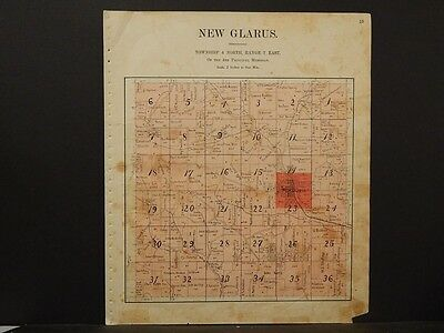 Wisconsin Green County Exeter or New Glarus  Townships 1902 Double Sided K6#67