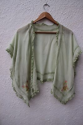 True vintage cape 1930s 1920s crepe de chine lace embroidered green shawl bed