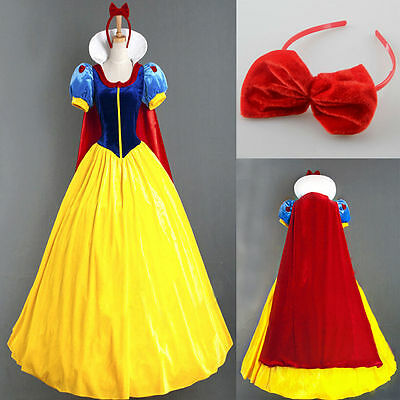 Adult Snow White Princess Costume Halloween Fairy Tale Cosplay Fancy Dress Up S