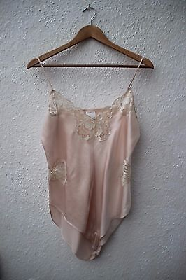 True vintage 100% silk pale teddy all in one playsuit cream lace 14 16 camisole