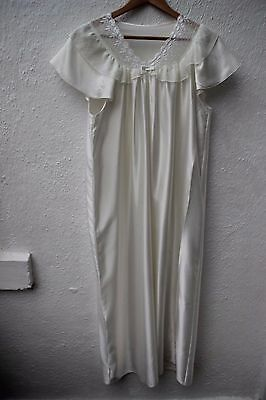 vintage night dress silky white lace frill long 12 14 St Michael gown negligee