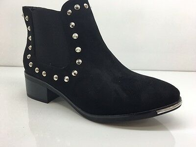 Ladies Womens Black Ankle High Suede Faux Chelsea Studs Boots Shoes Size 3