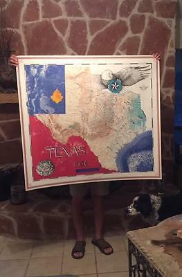 Texas 1986 Old Antique Commemorative Map and West Texas Map Large Big Bend Park
