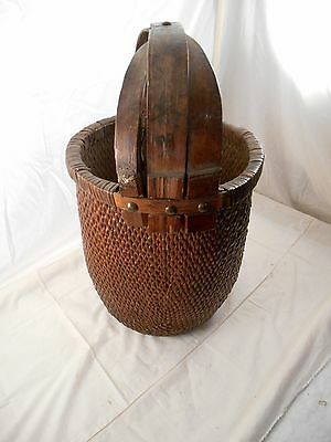 Antique Wooden Wicker Wood Handled Basket Pail with Writing