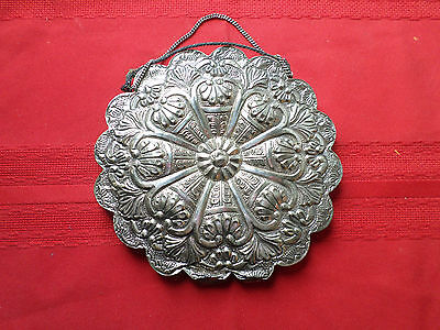 """Antique 900 Coin Silver Repousse / Hand Chased Hanging Mirror Signed 6"""""""