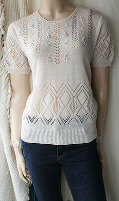 BEADED EMBROIDERED KNIT TOP HAUT BLOUSE JUMPER SIZE L/14-16/EU 42-44 VTG 30s/40s