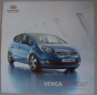Kia Venga Up Front Pre-Launch Information Car Brochure. 2009 Range 1 2 3