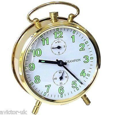 Champion Brass Colour Wind Up Bell Alarm Clock New DR7469GB
