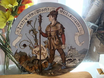 "Antique METTLACH Handpainted 14 1/2"" Charger-Man with Weapon 1887"