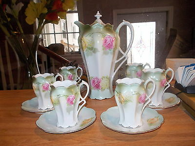 7 Piece Antique R S GERMANY Chocolate Set - Pink & Yellow Roses