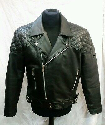"Mens JTS Leather Motorcycle Jacket Size 44"" Chest"