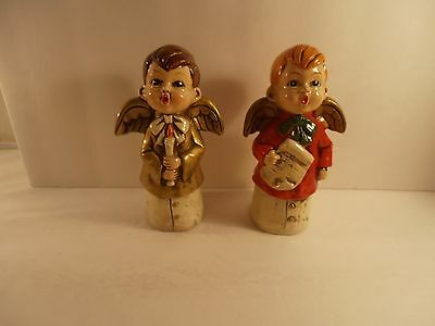 Two 2 Vintage Christmas Holiday Choir Boy Angels Singing Candle Music Plaster??