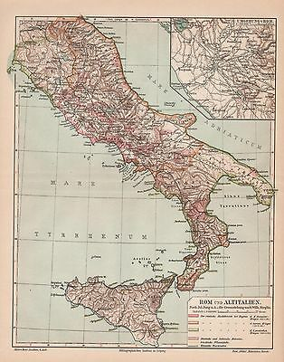 "Antique map ""HISTORIC MAP OF ROM AND ANCIENT ITALY"". Circa 1905"
