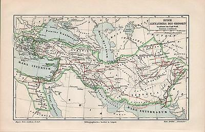 """Antique map """"HISTORIC MAP. EMPIRE OF ALEXANDER THE GREAT"""". Circa 1905"""