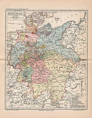 "Antique map ""HISTORIC MAP OF GERMANY. YEAR 1815-1866"". Circa 1905"