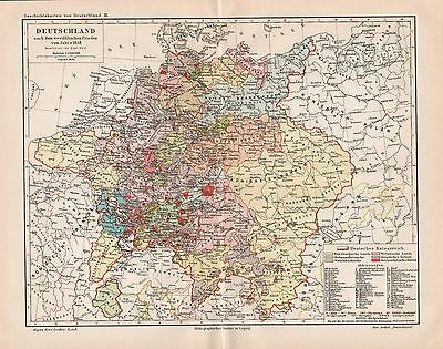 "Antique map ""HISTORIC MAP OF GERMANY. 17.TH CENTURY"". Circa 1905"