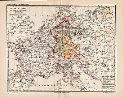 "Antique map ""HISTORIC MAP OF GERMANY. YEAR 1813"". Circa 1905"