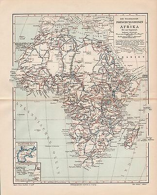 "Antique map ""HISTORIC MAP OF AFRICAN DISCOVERY TRAVELS"". Circa 1905"