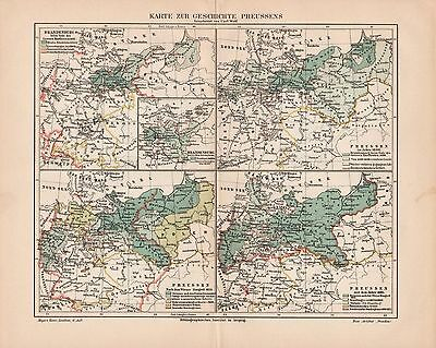 "Antique map ""HISTORIC MAP OF PRUSSIA"". Circa 1905"