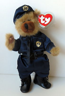 "Custom Dressed as Policeman Ty Attic Treasure 9"" Jointed Bear Named Cody"