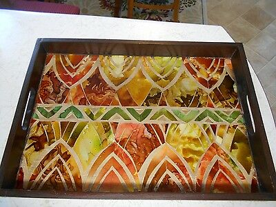"""Wooden Tray With Unique  Stained Glass  Design Tile Mosaic  19 3/4""""l X 13 3/4"""" W"""