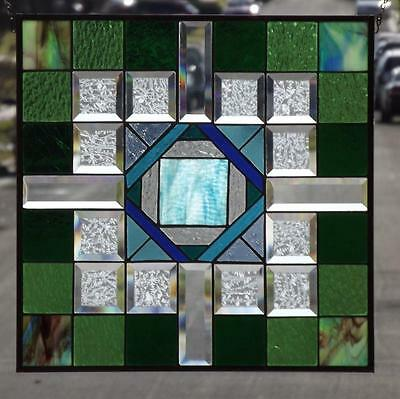 "•OUTSIDE the BOX • Beveled Stained Glass Window Panel • 20 1/2""-20 1/2""-(52cm)"
