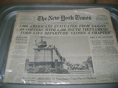 April 30,1975 New York Times newspaper The Fall of South Vietnam