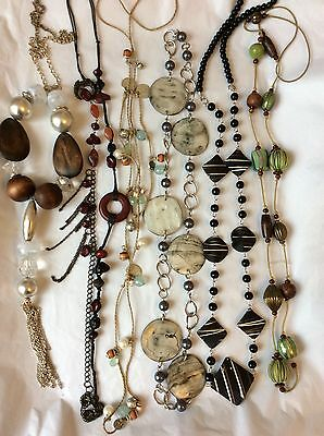Job Lot Costume Jewellery Mix 6 Long Bead Necklaces. 166b