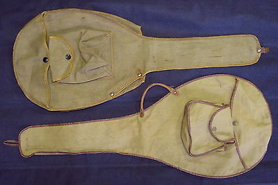Vintage TENNIS RACQUET CANVAS COVERS - One WILSON #733 w/CELLULOID COVERED SNAPS