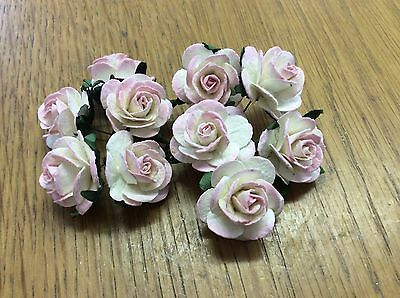 10 IVORY PINK ROSE (2.5cm) Mulberry Paper Flowers wedding crafts card