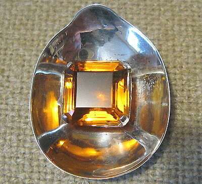 c1950 Vintage FRED A. BLOCK STERLING SILVER Large CITRINE STONE FUR CLIP BROOCH