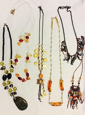 Job Lot Costume Jewellery Mix 6 Assorted Bead Necklaces 477b