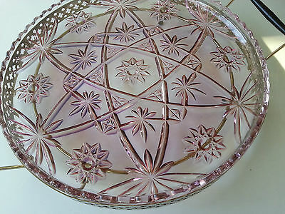Beautiful Large Vintage  Amethyst Cut Glass Platter on Stand