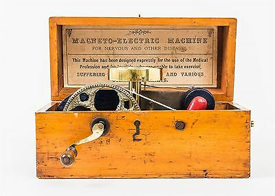 Antique Quack Medicine Magneto-Electric Machine Hand Crank Magnet Device in Box