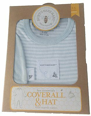 Burt's Bees Baby Boys Essentials Coverall and Knot Top Hat Set Sky 3-6 Months