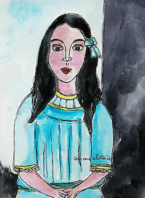 Original Watercolour And Ink Painting Girl In A Blue Dress Framed