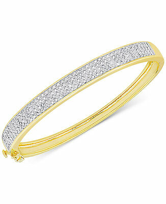 1ct Diamond Y Gold .925 Sterling Silver Hinged Bangle Bracelet Victoria Townsend